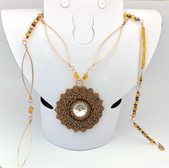"Spiritual with a Life Energy Swarovski Crystal Hand Beaded Neclace ""Gold Sun Light"" .Bohemian Mandala Flower Pendant,Charm/Amulet"