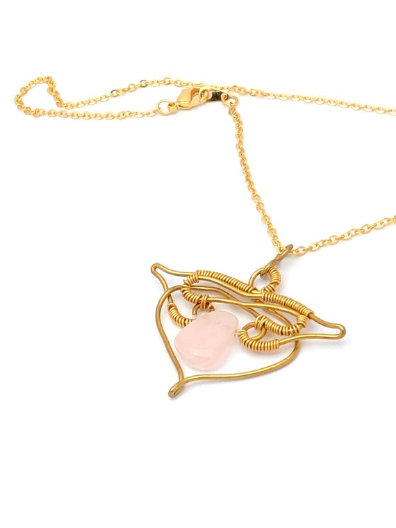 Archangel Chamuel Open Heart Rose Quartz Necklace.Unconditional Love Jewelry Amulet Charm.Infinity Love Stone of Heart Pink Quarts Necklace.