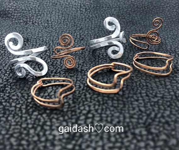 Beach Wire Jewelry Spiral / Waves  Rings, Egypt Style Elegant Jewelry Gifts. Aluminium / Bronze Hammered Swirls /Ocean Waves Rings
