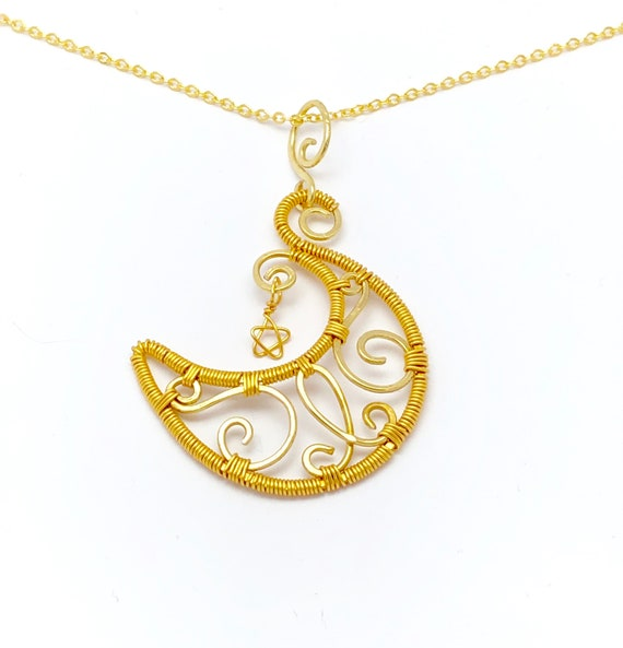"Gold Plated  Jewelry Necklace ""Crescent Moon and a Star"". Hammered Wire Weaved  with gold plated jewelry wire"