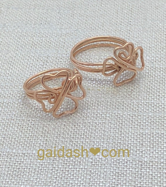 "Bronze Jewelry Wire ""Clover Lucky"" Ring. Casual / Special Occasion  Accessory , Elegant Gift.  Bare Bronze Jewelry"