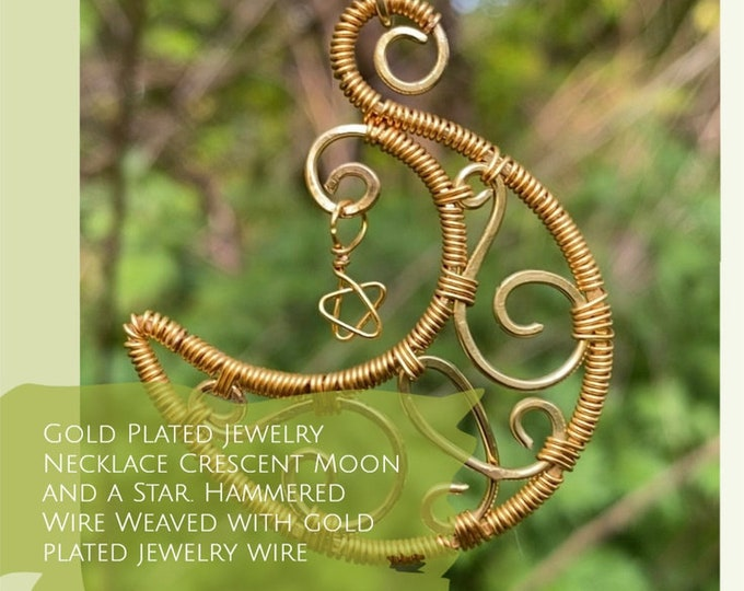 Moon  goddess necklace. Moon Necklace , Crescent Moon and a Star. Wire Weaved moon. Empath protection ,Amulet. Spiritual