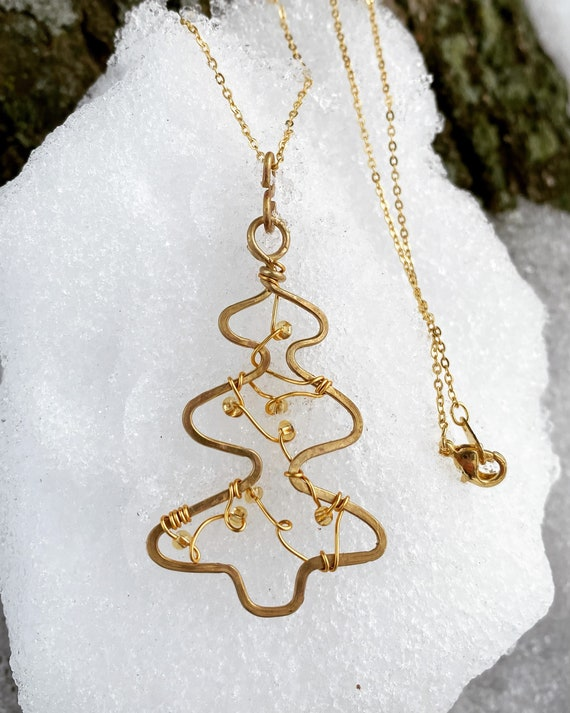 Pine Tree/ Fir-tree /Christmas Tree Ornament/Jewelry Pendant /Necklace. Gold Filled Jewelry Holiday Gift