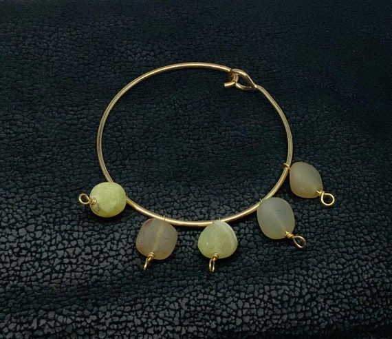 Natural stone gold plated wire wrapped bead bracelet