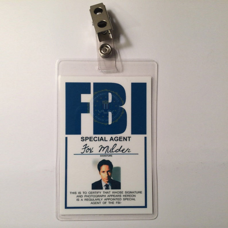 X FILES Fox Mulder Badge ID Name Tag Card Costume Cosplay Prop image 1