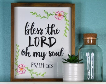 "8""x10"" CUSTOM BIBLE VERSE hand lettered sign (with frame!)"