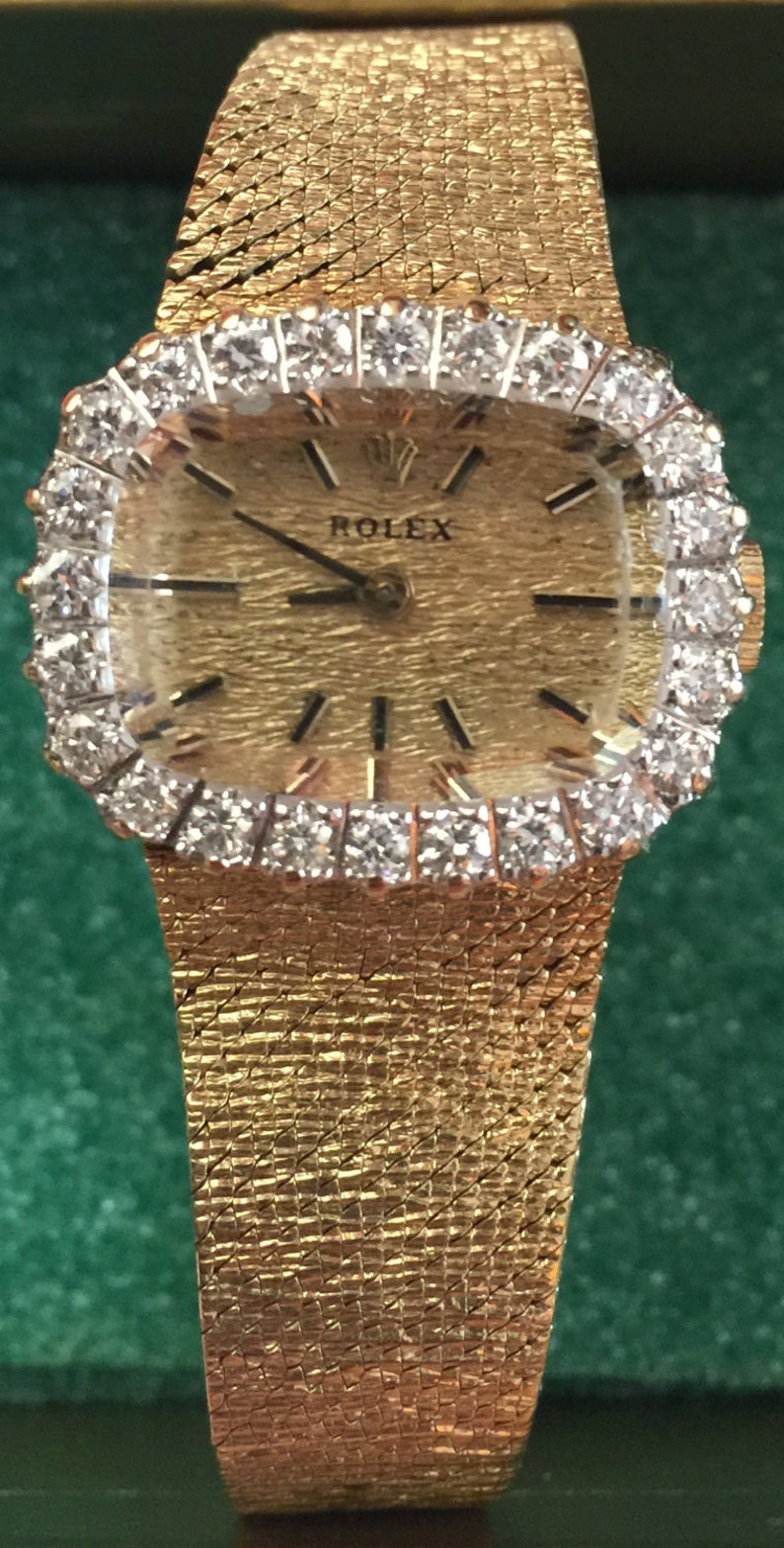 Rolex Ladies Diamond and 14k Yellow Gold Dress Watch Etsy