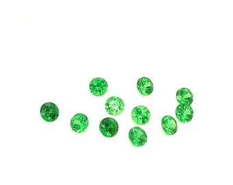 Round Faceted Tsavorite Garnet / Designer Garnet Gems / 3MM Round Green Garnet