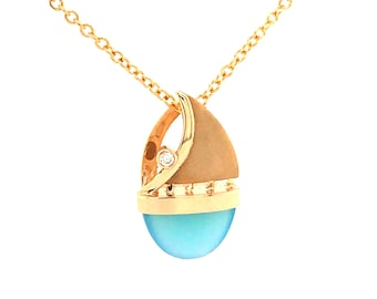 14K Gold Sailboat Pendant With Blue Chalcedony and Diamond