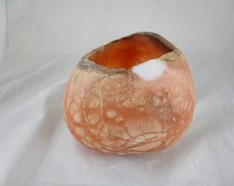 Translucent Orange Calcite Candle Holder / Hand Carved /  Sculpture