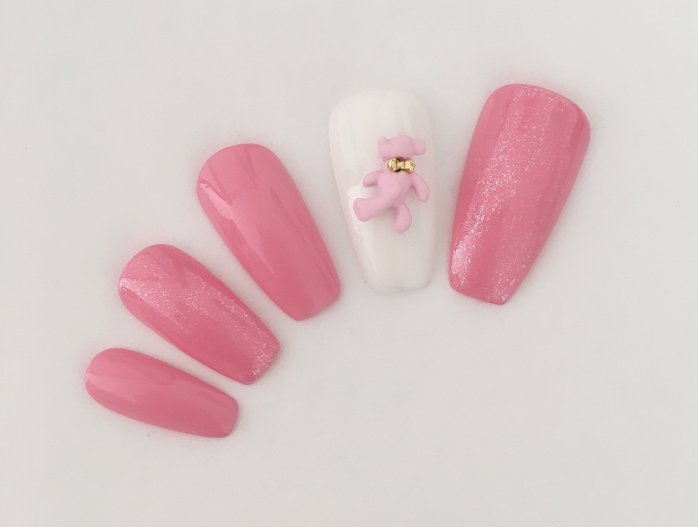 Pink bear nail | False nails | Bling pink nails | Coffin nails ...