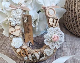 Decorative Wedding Horseshoe | Horseshoe | Vintage Wedding Horseshoe | Ribbon Horseshoe | Lucky Horseshoe | Personalised Wedding Horseshoe