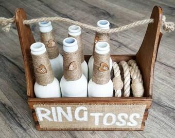 Ring Toss - Rustic Brown | Ring Toss Game | Wedding Game | Garden Game | Vintage Game | Lawn Game | Ring Toss Set