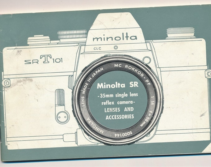 Vintage 1970 Minolta SR 35mm SLR Camera Lenses and Accessories Book - Includes SR-T 101 and Covers all Rokkor Lenses - Near Mint - 11x17cm