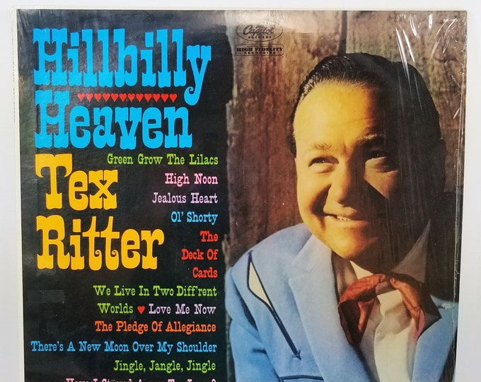 Rare Vintage Vinyl Record Tex Ritter 'Hillbilly Heaven' LP Album 1961 - Genuine Original - Shrink Wrapped - Capitol Records - Excellent!