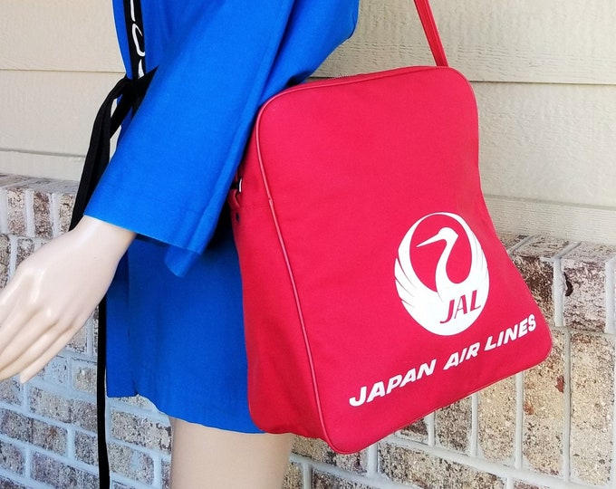Rare Vintage Japan Airlines JAL Red Vinyl Flight Bag - Stewardess Tote Bag - Carry-on Luggage from Japan - Perfect for the Tokyo Olympics