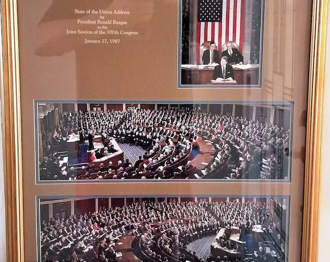 Rare Framed and Matted Original Color Photographs of President Reagan Addressing the 100th Joint Session of Congress Jan 27, 1987 - Kodak