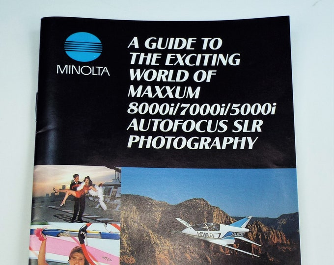 Minolta Maxxum 8000i, 7000i and 5000i Brochure-Catalog - Soft Cover - 29 Pages - 35mm Autofocus SLR Photography - Mint New - 1990