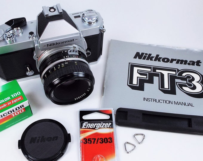 Vintage Nikon Nikkormat FT3 35mm SLR Camera w/Nikkor 50mm f2 Lens, Cap, New Battery, Inst Book - Fujifilm Color Film  + Free USA Shipping!