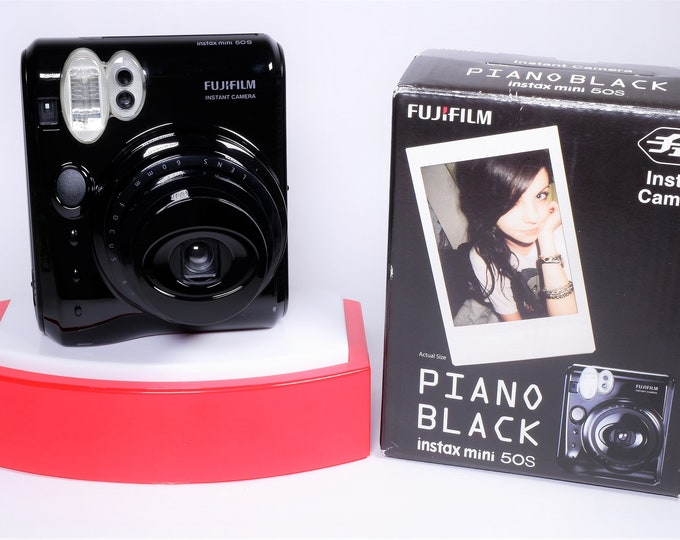 Fujifilm Instax Mini 50S Piano Black Instant Camera - New in Open Box - Batteries, Strap & Close-up Lens Included - Super Nice