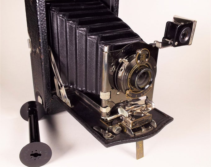Vintage 1910 No. 3 Folding Pocket Kodak Model H with Leather Case - Excellent Fully Working Condition - A Classic from Kodak - Rare