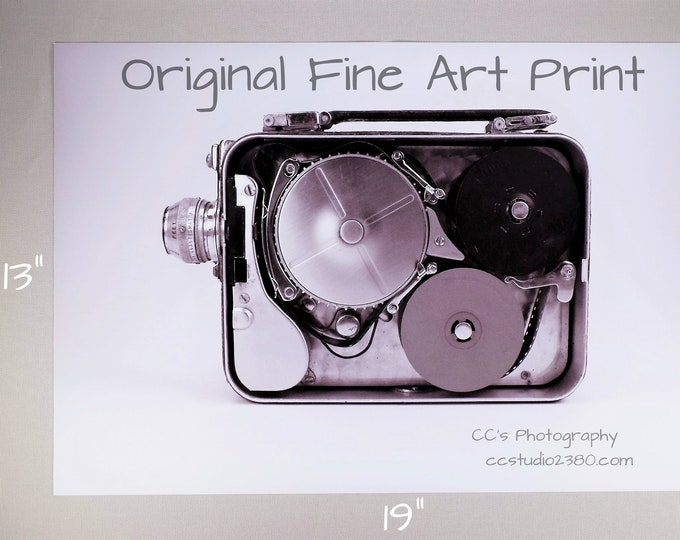 1940s Kodak Movie Camera Fine Art Print - 13 x 19 in  - Steampunk - Printed on Pro Quality Canon Semi-gloss Paper w/ Archival Inks - Ltd Ed