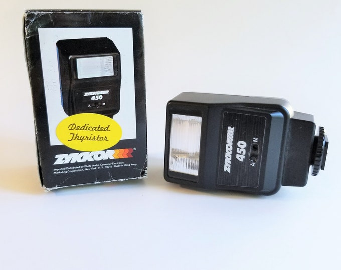 Zykkor 450 Automatic Electronic Flash for Canon Cameras with Original Box - 100% Tested, Working - Dedicated Thyristor Flash