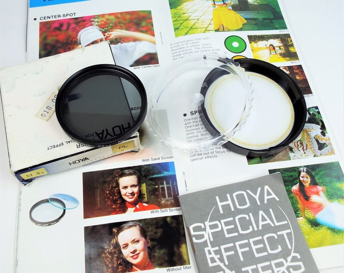 Hoya PL 52mm Metal & Glass Polarizer Filter - Japan - Original Box and Case with 35 Page Hoya Catalog c1979 - Near Mint - Free USA Shipping!