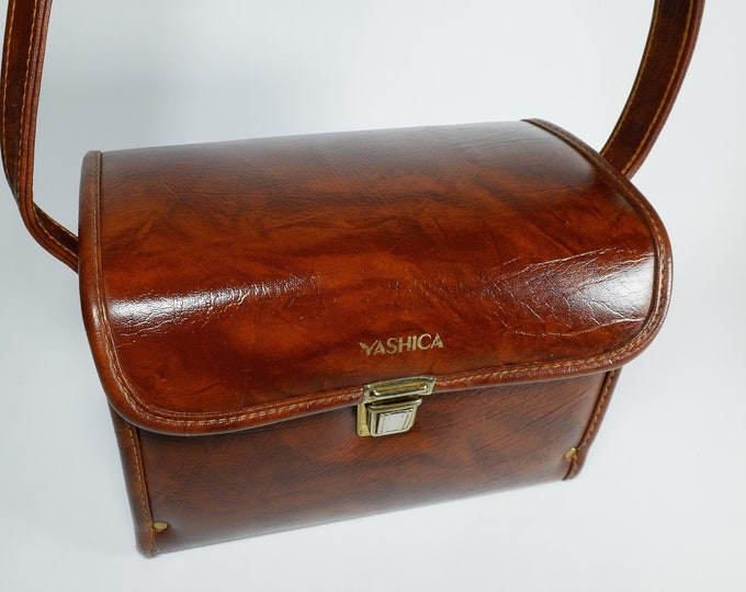 Vintage Yashica Branded Camera Bag with Strap - Nice Large Size - Excellent Condition - Brown with Gold Trim