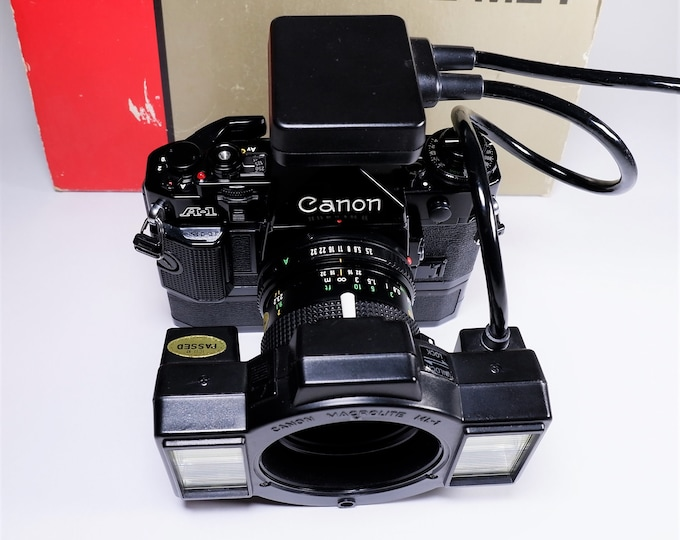 Canon Macrolite ML-1 Electronic Flash Set - Mint in the Box - Tested - 100% Fully Working - Rare Canon Collectible - A-1, AE-1, F-1