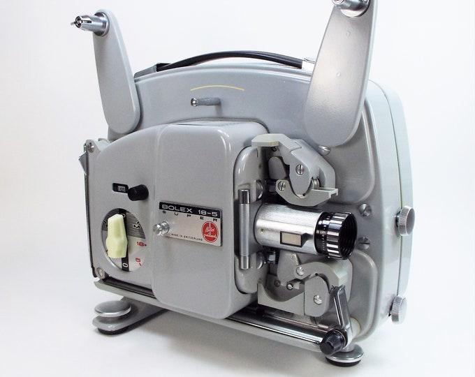 Bolex-Paillard 18-5 Super 8mm Movie Projector w/ Case, Film Reel, Splicer, Cord, Bulb - Hi-Fi 20mm f1.3 Lens - Vintage 1966 - Super Clean