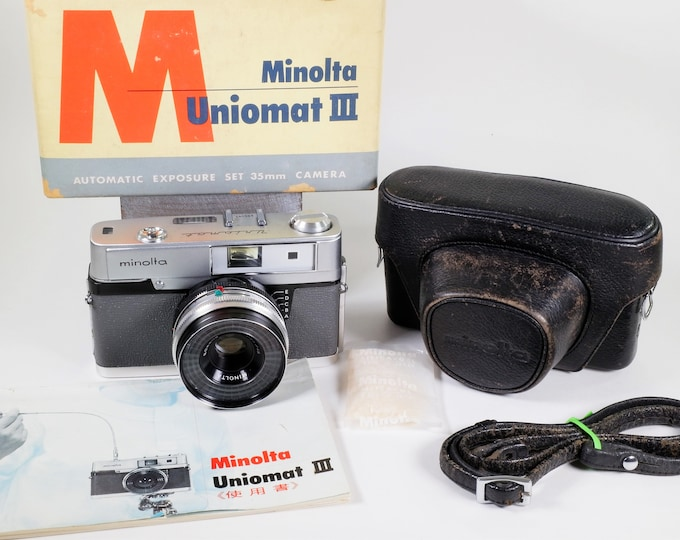 Minolta Uniomat III 35mm Rangefinder Camera Set from Japan - Vintage 1963 - with Rokkor 45mm f2.8 Lens, Orig Box, Case, Inst, Strap, Silica