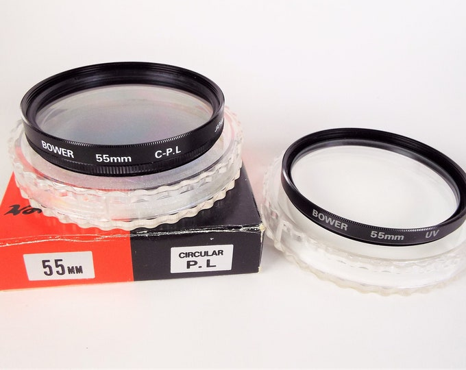 Bower 55mm Metal & Glass UV and Polarizer Filter - Japan - Original Box and Cases - Near Mint - Made in Japan
