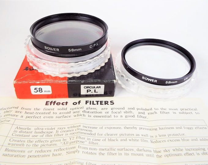 Bower 58mm Metal & Glass UV and Polarizer Filter - Japan - Original Box and Cases and Instructions - Near Mint - Made in Japan