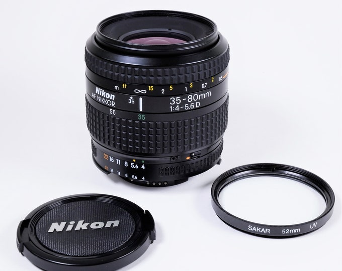 Nikon AF Nikkor 35-80mm f4-5.6 D Zoom Lens w/ Nikon Front Lens Cap & Metal and Glass UV Filter - Mint Condition - Excellent All Around Lens