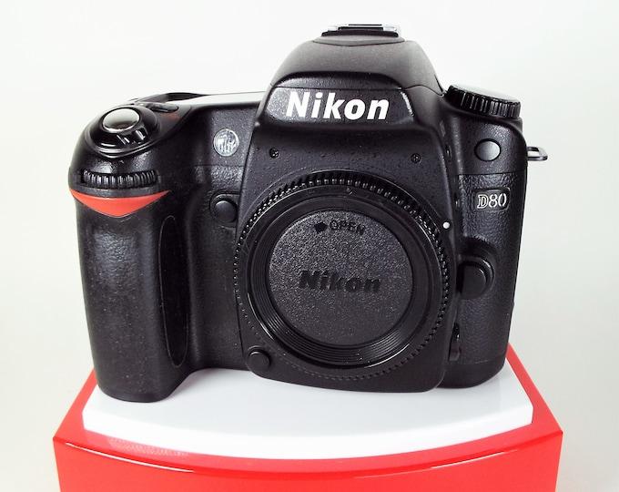 Nikon D80 DSLR Camera - Nikon Body Cap, Nikon Charger, New Battery - 100% Tested & Super Clean