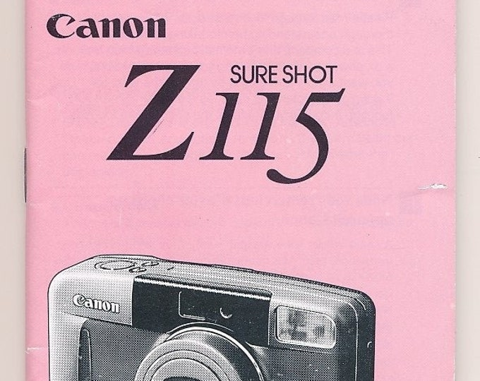 Canon SureShot Z115 35mm Compact Camera Instruction Booklet / Owner's Manual / User's Guide - 95 Pages - 3 Languages - Very Good Condition