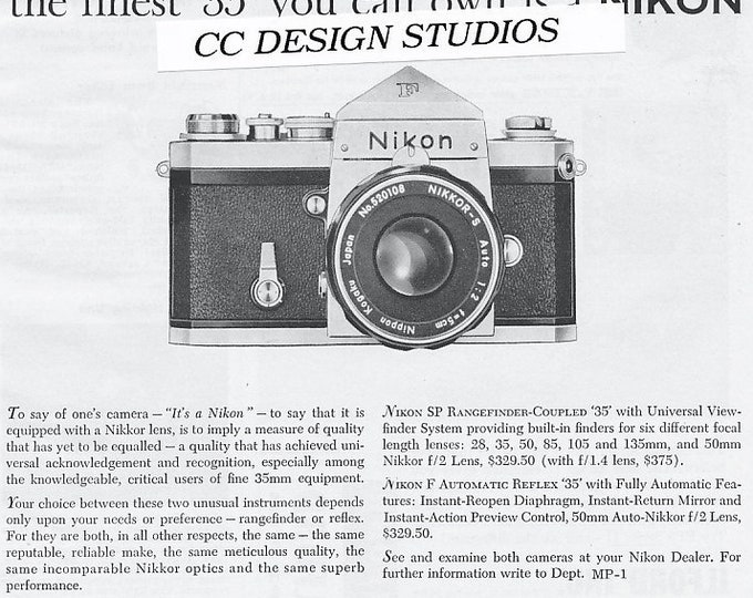 Nikon F 35mm Single Lens Reflex Magazine Advertisement / Jan 1960 / Nikon SP and F / SLR and Rangefinder Cameras - Rare & Nice
