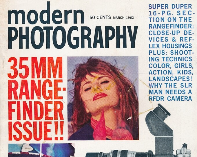Vintage Modern Photography Magazine MAR 1962 - Collectible - Ads from Kodak, Leica, Rolleiflex, Nikon, Canon, Minolta, Graflex and More!