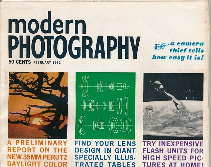Vintage Modern Photography Magazine FEB 1962 - Nice Collectible - Ads from Kodak, Polaroid, Nikon, Canon, Miranda, Graflex and More!