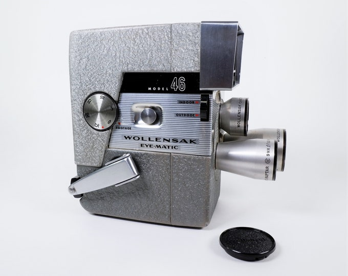 Wollensak Eye-Matic Fully Automatic Model C-46 Spool 8mm Movie Camera w/ 3 Raptar f/1.8 Turret Lenses - Vintage 1958 - Super Clean & Working