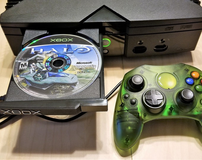 Original Microsoft Xbox w/ Cables, New Controller plus Halo Game - 1 Owner - 100% Tested, Working, Super Clean - Free USA Shipping!