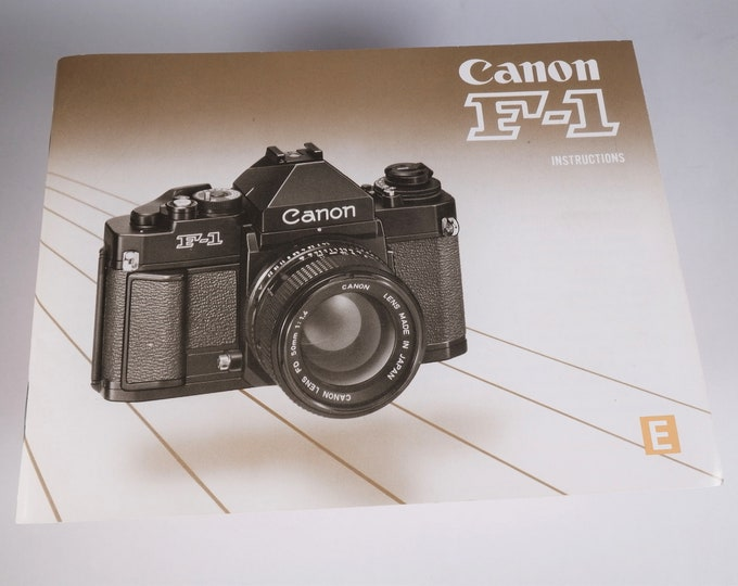 Canon New F-1 35mm SLR Film Camera Instruction Book - 1987 - Nearly Mint New - Perfect Collectible - 88 Pages - English Edition - Free Ship