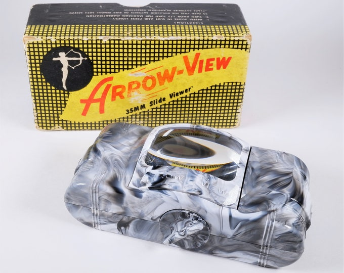 Vintage Arrow-View 35mm Slide Viewer - Super Cool Viewer from the 1950s - Clean as New & Fully Working - Original Box and Creepy Slide Too!