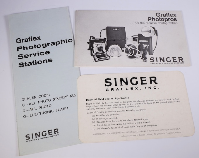 Vintage Graflex Photopros Sales Brochure - Pacemaker, Super Graphic 45, Century 23, XL Cameras - Original  - 18 Pages - Excellent Condition