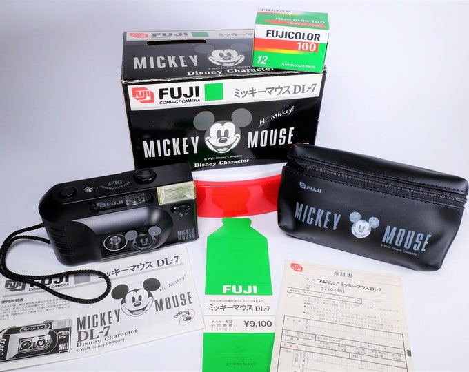 Fujifilm Hi Mickey Mouse DL-7 35mm Compact Film Camera Outfit - New in the Box - Fujinon Lens - Fujicolor Film Included - Case - Batteries