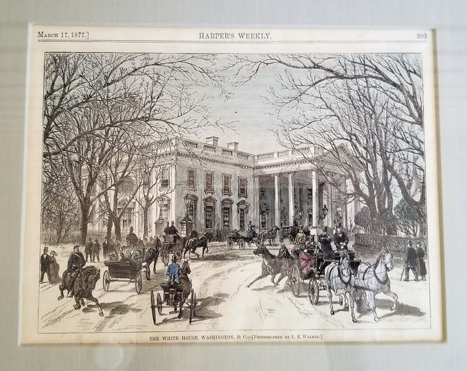Rare Colorized Original Wood Engraved Print of the White House from Harper's Weekly, March 17, 1877 - from a Photograph by Lewis E. Walker