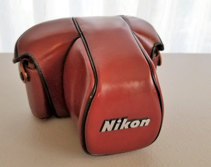 Nikon CF-20 Leather Camera Case for the Nikon F3 - Beige Felt Interior - Semi-Soft Ever Ready Case - Excellent Condition - Made in Japan