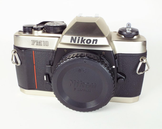 Classic Nikon FM 10 35mm SLR Film Camera with Nikon Body Cap, Original Owner's Manual & Fresh Batteries - 100% Tested, Fully Functional