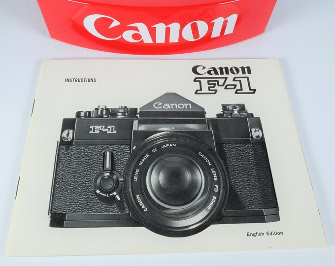 Canon F-1 35mm SLR Film Camera Instruction Book - 1973 - Rare Collectors Condition - 59 Pages - English Edition - Free USA Shipping